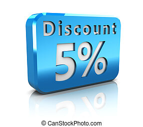 five percent discount - abstract 3d illustration of 5...