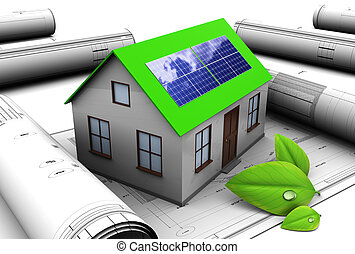 green energy - 3d illustration of house design with solar...