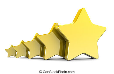 3d stars - abstract 3d illustration of five stars over white...