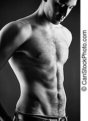 Topless man - Torso of handsome guy in isolation