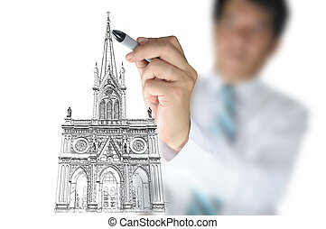 Businessman draw Christ church as an Architect