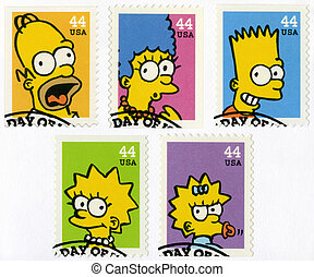 USA - 2009: shows The Simpsons - USA - CIRCA 2009: A stamp...