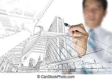 Hand of business man draw building and cityscape