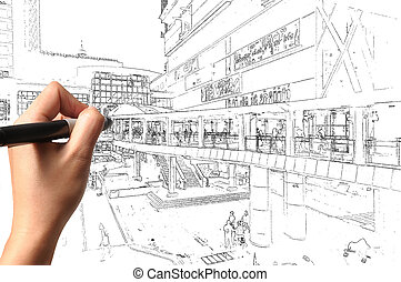 Hand of business man draw visual cityscape