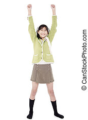 Young asian biracial girl in green sweater and skort...