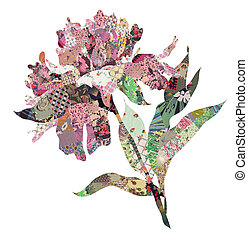 peony quilt collage over white background