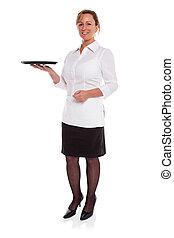Waitress with empty tray