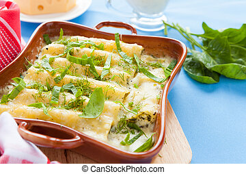 cannelloni baked in the oven, closeup