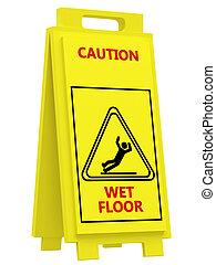 Sign caution wet floor