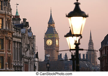 Big Ben at Dawn - Big Ben, seen from Trafalgar Square, at...