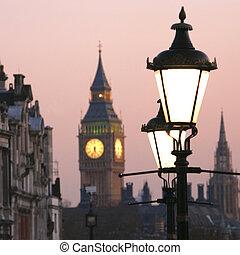 Big Ben at Dawn - Big Ben, seen from Trafalgar Square, at...