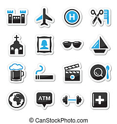 Travel tourism and transport icons - Holidays, location...