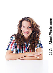 Happy student isolated on the white
