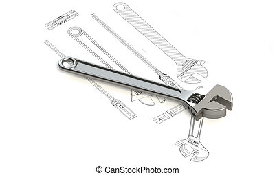 Adjustable Large Wrench With Charts