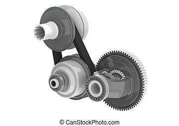 Connected Gears isolated on white