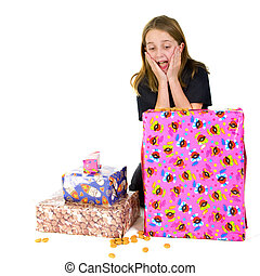 Child with presents for Sinterklaas - Child with many...