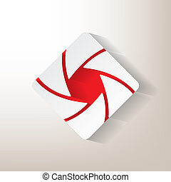 Sticker with an aperture designwith red insertions