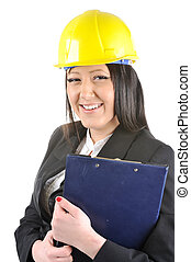 Female construction worker holding clipboard