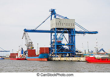 Port of Rostock Germany - Loading cranes in the harbour of...