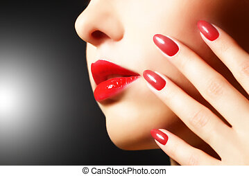 Makeup and manicure. Girl with beautiful make-up