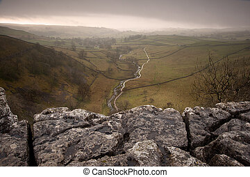 Limestone pavement overlooking Malham Beck and Dale in Yorkshire Dales National Park