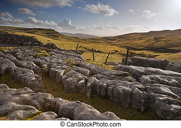View towards Malham Moor from Pennine Way in Yorkshire Dales National Park