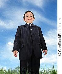 bien, vestido, niño, (business)