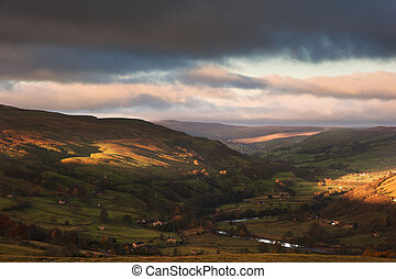 Autumn sunrise over Swaledale and Gunnerside in Yorkshire...
