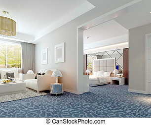 3D deluxe hotel suite interior rendering - 3D bedroom...