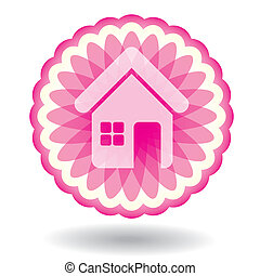 Real Estate sign - abstract illustration with  houses icon
