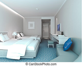 3d bedroom rendering, hotel rooms - modern design interior...