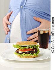 Fat man with hamburger and cola