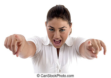 shouting woman pointing with both hands