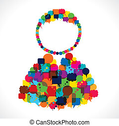 group of message bubble make user shape stock vector
