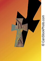 cross with shadow - maltese cross throwing a shadow