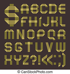 Font from greenish scotch tape - Roman alphabet (A, B, C, D,...