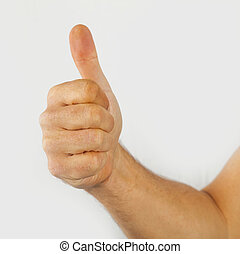 thumbs up sign isolated on white