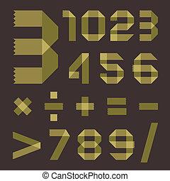 Font from greenish scotch tape - Arabic numerals 0, 1, 2, 3,...