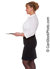 Waitress holding an empty silver tray