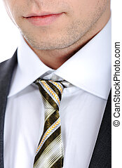 Closeup shot of business suit and tie on a man