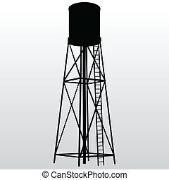Water Tower - Industrial construction with water tank Vector...