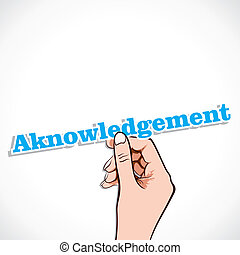 Acknowledgement word sticker in hand stock vector