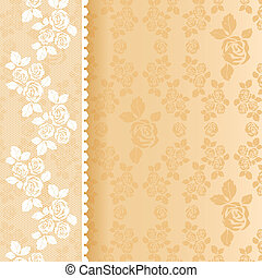 Lace beige square. Vector illustration 10eps