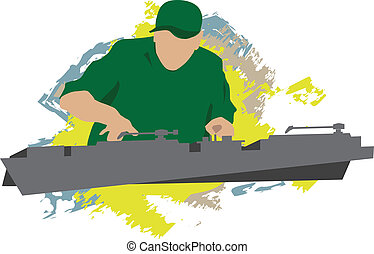 dj - pop art dj playing music illustration