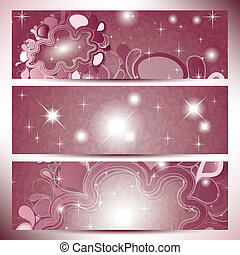 Banners with abstract clouds in pink shades color