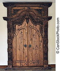 Carved Wooden Door - Traditional carved wooden door, Central...