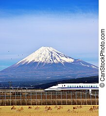 Fuji and Train - A bullet train passes below Mt Fuji in...