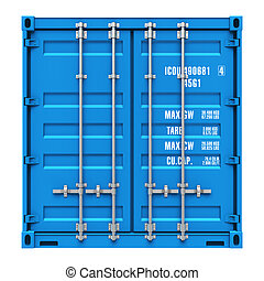 Cargo container - Side profile view of blue cargo freight...