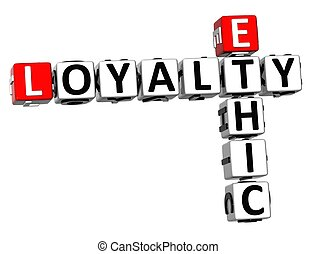 3D Ethic Loyalty Crossword on white background