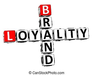 3D Brand Loyalty Crossword on white background